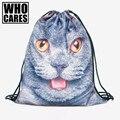 Britânico gato impressão 3D mini mochila cordão do saco Das Mulheres 2016 saco de marca sacos de Viagem mochila feminina saco Clássico para sempre um dos