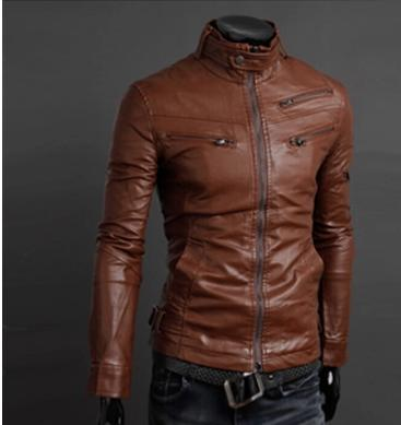 Men's fitted brown leather jacket – Modern fashion jacket photo blog