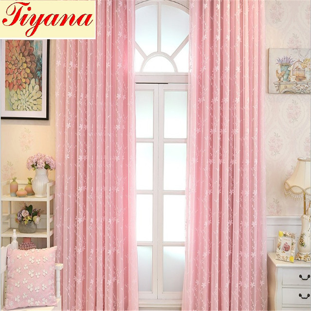 Pink Sheer Curtain Voile Tulle Valance Floral Pattern Luxury Drape For Living Room Bedroom Decoration