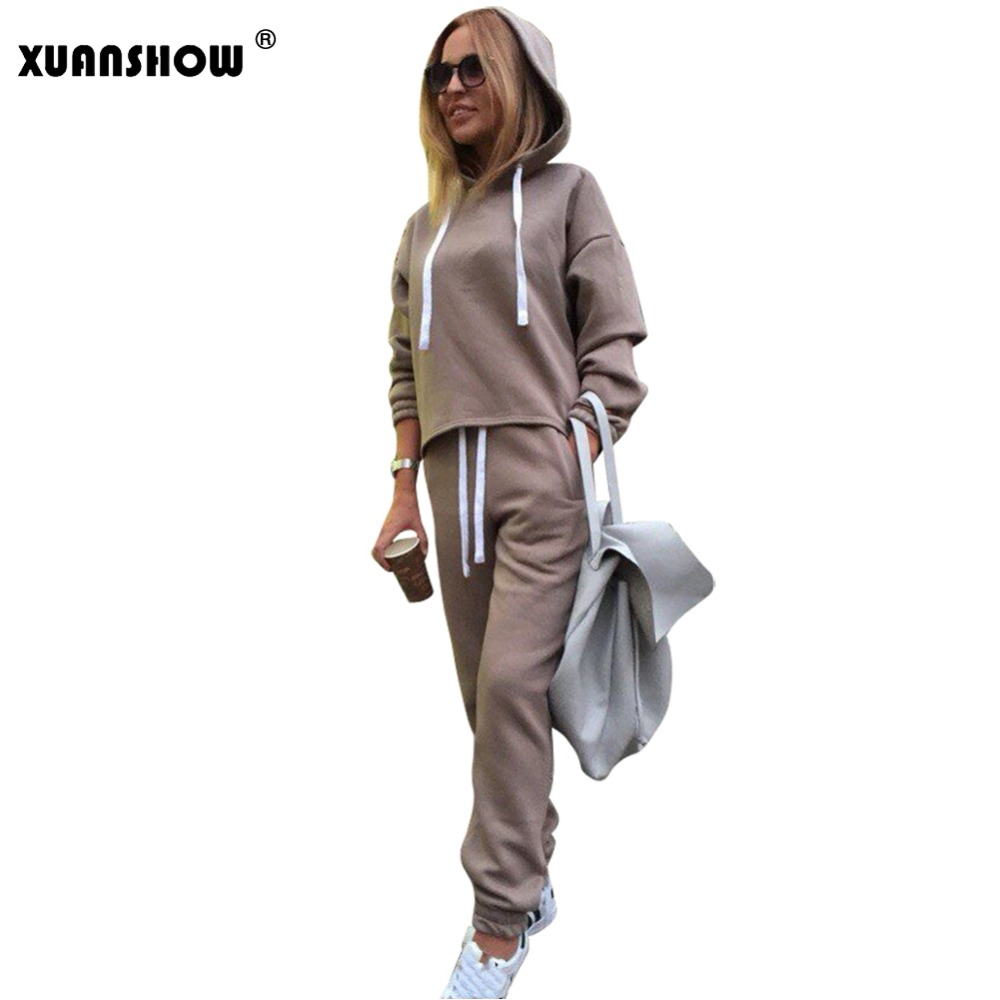 XUANSHOW 2020 Womens Tracksuit Set Sportswear Long Sleeve Hoodies+Full Pants 2 Piece Set Solid Casual Women's Sport Suit