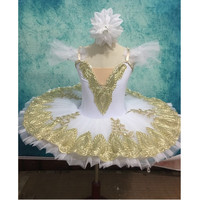 Professional Tutu White Golden Adult Swan Lake Ballet Dance Costume For Girls Women Pancake Tutu Kid Skating Ballerina Dress