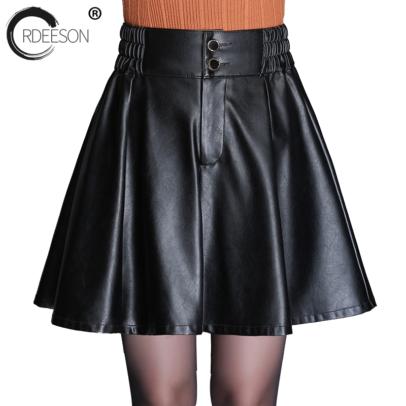 ORDEESON PU Leather Mini Skirt Spring 2018 Korean Style Women Plus Size Skirt Best Selling 2018 Products High Waisted A Line