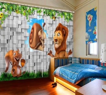 animal 3d Curtains Blackout for Living Room Kids Bedroom Fabric brick curtains