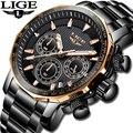 Мужские кварцевые часы LIGE  водонепроницаемые часы из стали для спорта в Военном Стиле  2019
