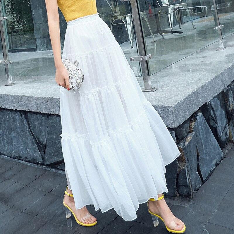 Women Summer Skirt Long Maxi Bohemian Style Elastic High Waist Full Circle Frilly Ruffle Chiffon Skirt Ladies jupe plissee femme in Skirts from Women 39 s Clothing