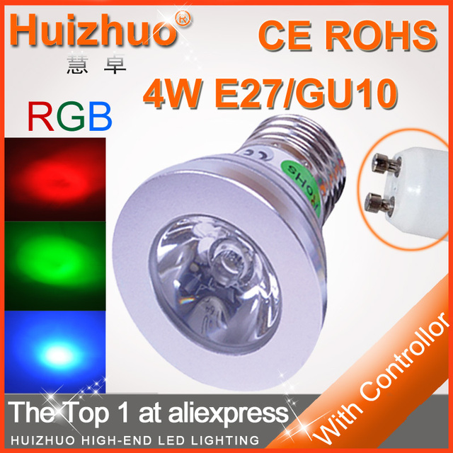 Big Discount[Huizhuo Lighting]Free Shipping High Power 4W RGB LED Bulb With IR Remote Controller 16 Colors Change RGB Bulb Light