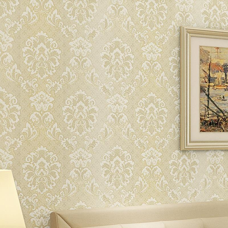 beibehang Damascus 3D flocking mural paper flocking wallpapers Luxury 3d embossed wallpaper blue wall papers for living room beibehang luxury blue gold damascus