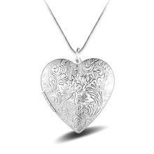 Love Heart Design Photo Frame Memory Locket Necklace 925 Sterling Silver Pendant Necklace Jewelry Mother's Day Girlfriend Gift цены онлайн