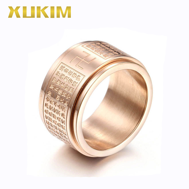 TSR222 Xukim Jewelry Stainless Steel Ring Heart Sutra Religion Ring Women Rings Titanium Sliver Black Titanium Ring