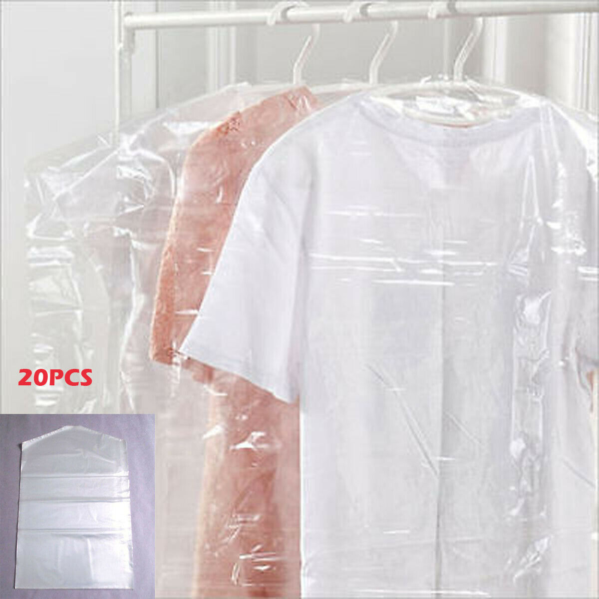 20x Vacuum Bags For Storing Clothes Garment Suit Dust Cover Protector Wardrobe Storage Bag Cloth Hanging Garment Coat Dustproof