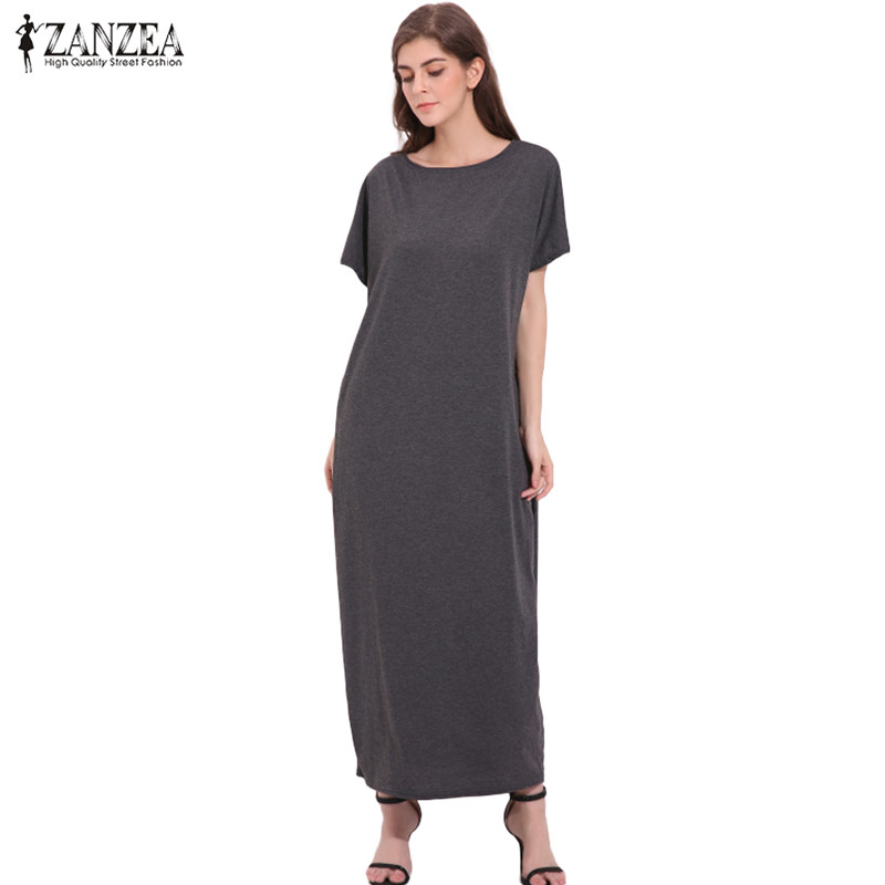 2018 ZANZEA Oversized Womens Summer O Neck Manga corta Sólido Vintage Casual Sexy Ladies Party túnica Baggy Maxi vestido largo