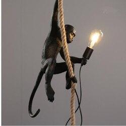 Harz Schwarz Weiß Affe Anhänger Licht Für Wohnzimmer Lampen Kunst Parlor Studie Zimmer Led-leuchten glanz Mit E27 Dimmen led-lampe
