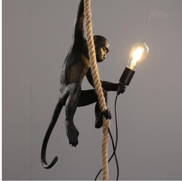 Résine noir blanc singe pendentif lumière pour salon lampes Art salon salle d'étude Led lumières lustre avec ampoule E27 variateur Led