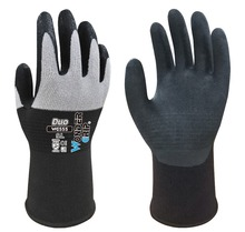 6 Pairs Double Color Nylon Micro Fiber With Nitrile Foam Coated Garden Work Gloves