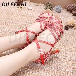 Image 4 - DILEECHI Latino sapatos de dança de grande pequeno strass Vermelho brilhante azul de cetim Mulheres sapatos de dança Salsa sapatos de festa de casamento Alargamento 9 calcanhar seis centímetros