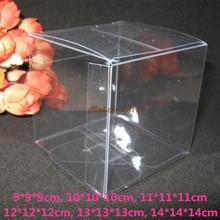 20pcs/lot-9*9*9cm,10*10*10cm Big Size Clear Square Wedding Favor Gift Box PVC Transparent Party Candy Packaging Boxes