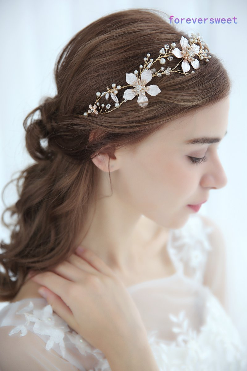 us $11.76 30% off|pearl golden flower leaf bride hairbands hair decoration headband wedding bridal hair accessories-in hair jewelry from jewelry &