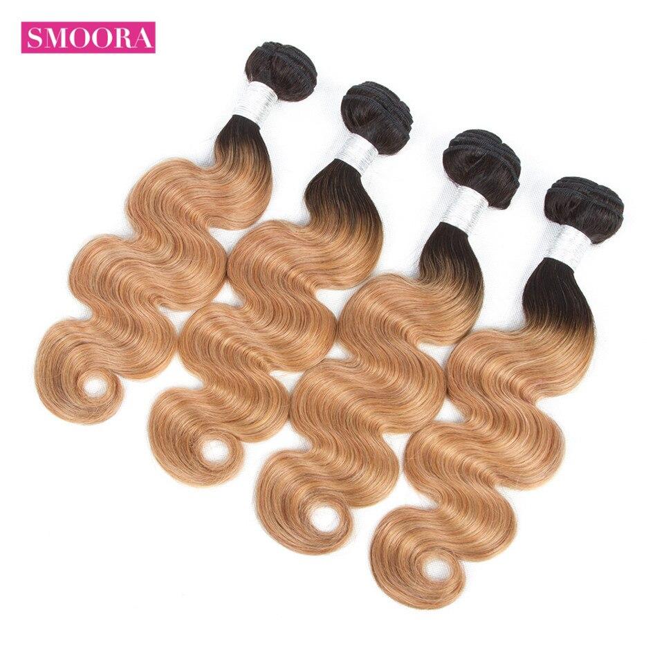 Smoora   Bundles Body Wave Ombre Hair Bundles 4Pcs Natural Black Dark Roots Blonde Brown Burgundy Red Non 3