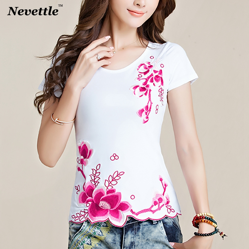 Vintage T Shirt Women Black White Ladies Tops Cotton Floral Embroidered Tee Shirt Femme Clothes Plus Size Casual  Summer