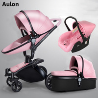 Aulon baby stroller 3 in 1 free shipping! Branded baby carriage, eco leather baby carriage, euro car seat, basket, cradle for ne