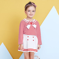 2018 Fashion Spring Boutique Outfits Baby Clothes Girls Sets Cute Long Sleeve Bow Striped Tops Skirts