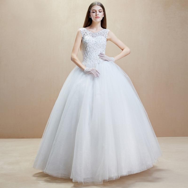 New Wedding Dresses Ball Gown White Glamorous Decent Scoop Romantic ...