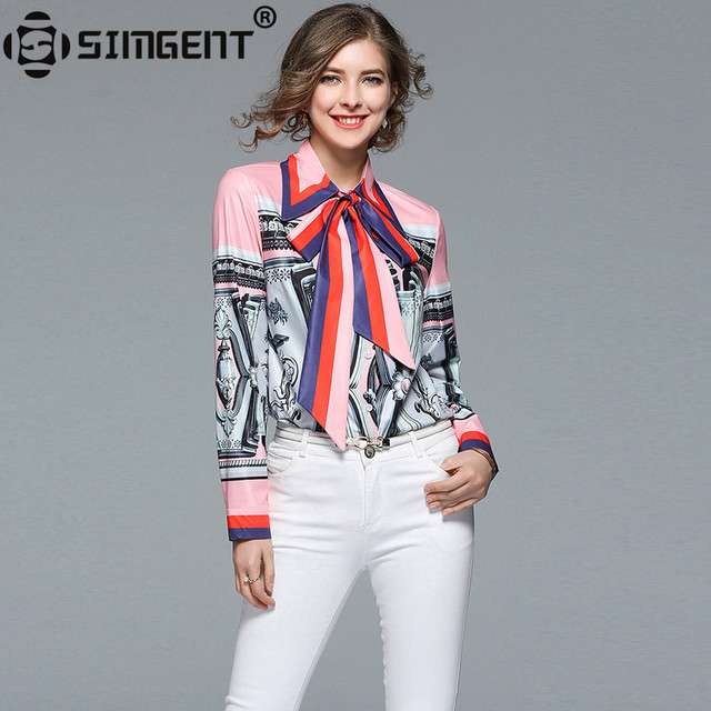 Simgent Work Blouse Women 2018 New Spring Long Sleeve Bow Turn Down Collar Print Color Block Office Casual Runway Shirts SG8151