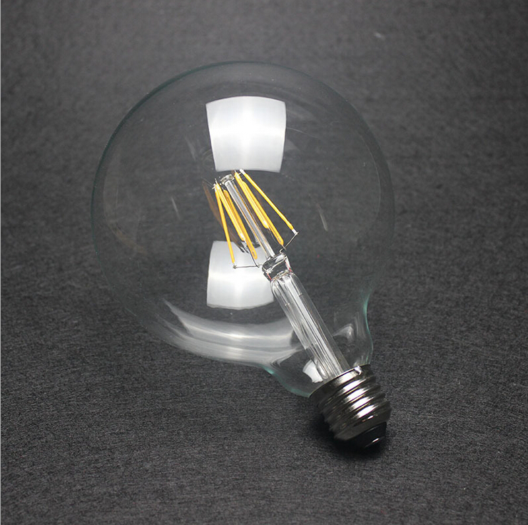 Dimmable G125 Big Global light bulb 4W/6W/8W filament LED bulb E27/B22 clear glass Edison indoor lighting lamp AC110V edison led filament bulb g125 big global light bulb 2w 4w 6w 8w led filament bulb e27 clear glass indoor lighting lamp ac220v