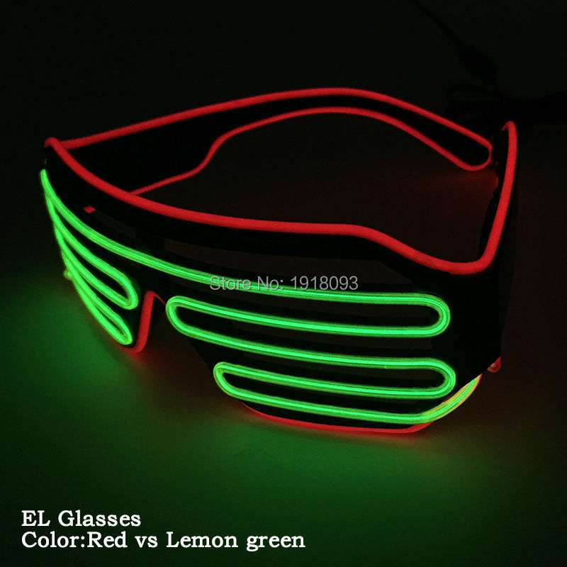 New design 16 Style DC-3V Steady on Doublue Color EL Wire Shutter Glasses Flexible Neon Light Party Novelty Lighting