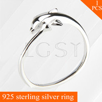 LGSY Adjustable Women Dolphin Design Rings Jewelry 925 Sterling Silver Ring Accessories Pearls Seat