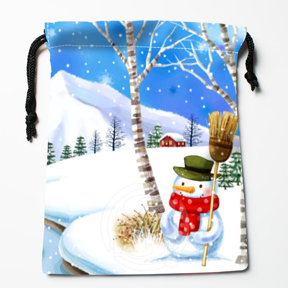 TF&102 New Christmas Snowman #!c Custom Printed Receive Bag Bag Compression Type Drawstring Bags Size 18X22cm &812#102pa
