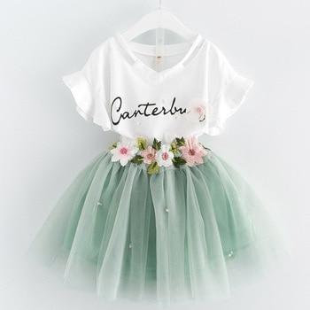2016 Summer Children Clothing Set Cartoon  Clothes  Casual Shirt + gauze Skirt 2 pcs Fashion Cotton Suit girls clothing sets conjuntos casuales para niñas