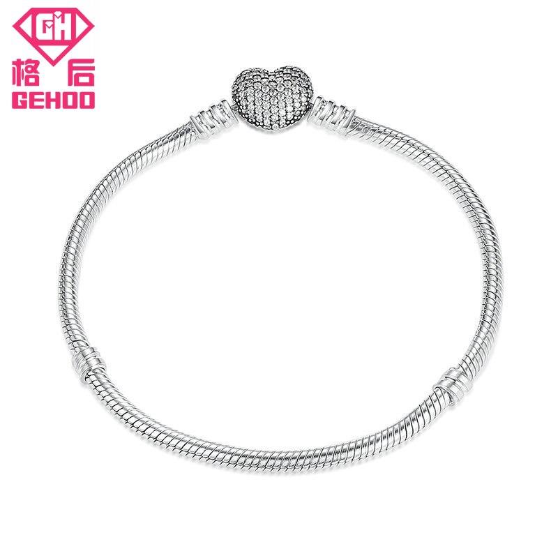 GEHOO 2018 Fresh Bracelet Heart Pendant Design Bangles Charm Bracelts 925 Sterling Silver Women Jewelry Gift Wristband Pulseira