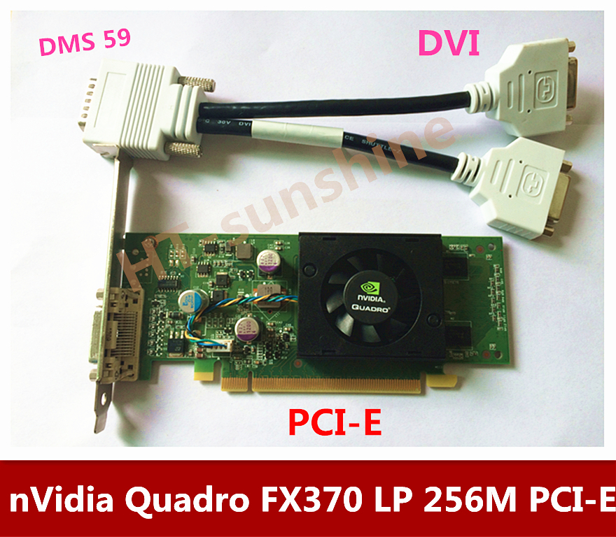 Original Quadro FX370 LP 256M PCI-E DMS 59 Professional Graphic Video Card Warranty 1years  inclue DMS59  to   DVI cable original high quality nvidia quadro fx370 pci e with dms 59 cable fx 370 3d griaphic card 1year warranty