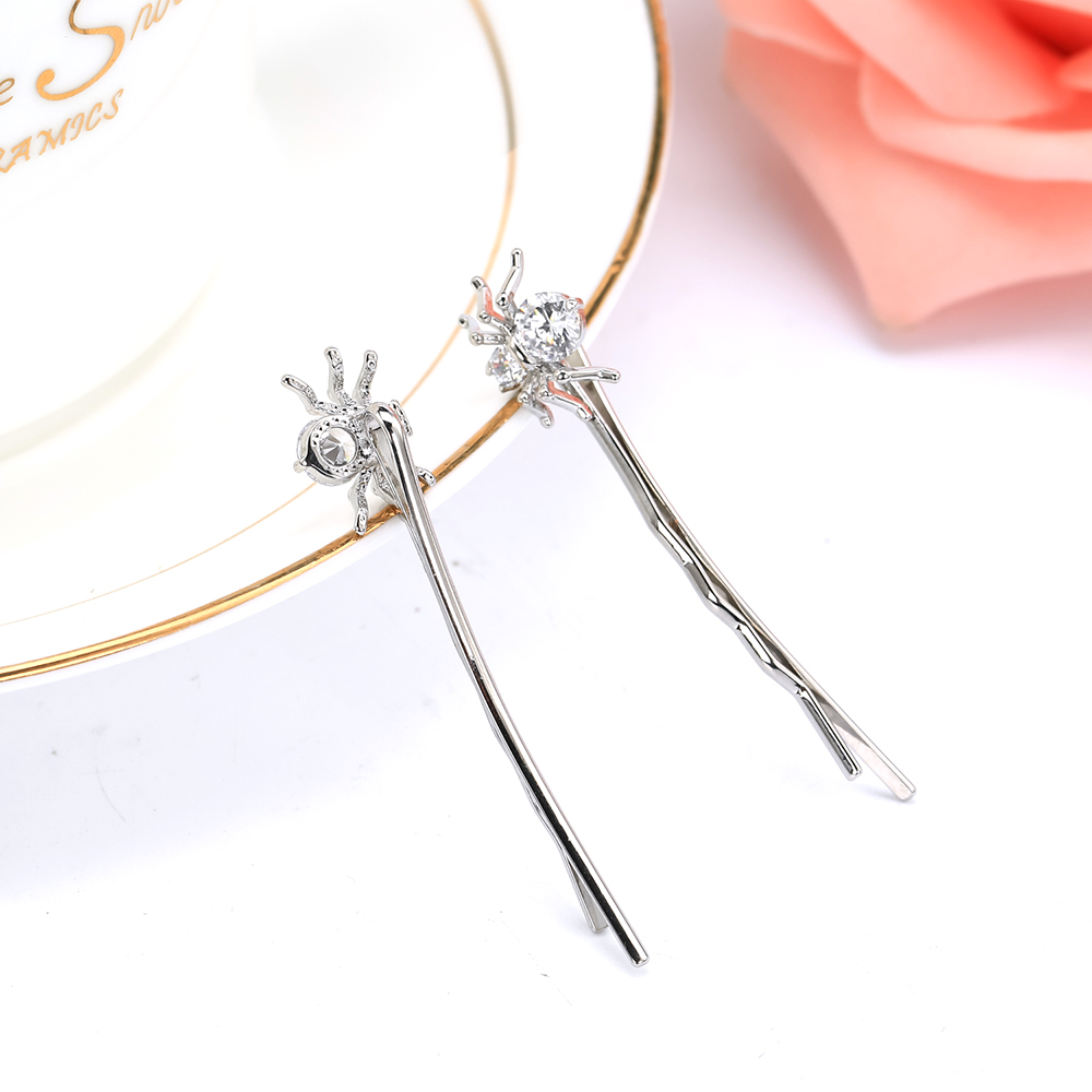 New fashion simple Hairbin Jewelry cute spider Design AAA Cubic Zirconia Barrette Clips Hair Accessories hair for girl F00052 in Hair Jewelry from Jewelry Accessories