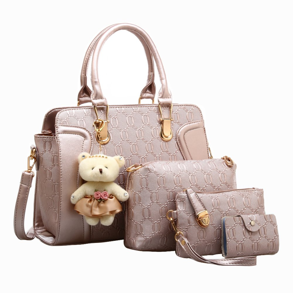 Women Tote Fashion Handbag PU Leather Elegant Style Composite Handbags Ladies Shoulder Bags High Quality Lovely Bear PendantWomen Tote Fashion Handbag PU Leather Elegant Style Composite Handbags Ladies Shoulder Bags High Quality Lovely Bear Pendant