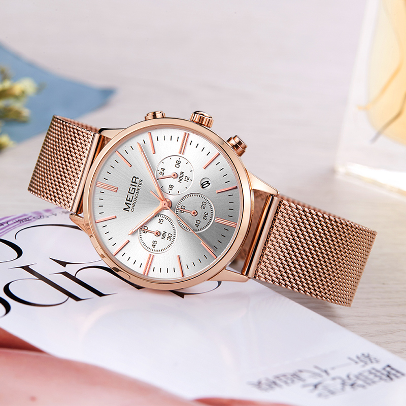 2018 MEGIR Luxury Brand Woman Quartz Watch Women Fashion Waterproof Wristwatch Ladies Casual Business Watches Relogio Feminino relogio luxury quartz women watches brand gold fashion business bracelet ladies watch waterproof wristwatch relogio femininos