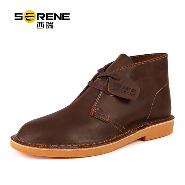 Chukka Boots Leather Genuine Designer Shoes Lace-up Buffalo Causal Footwear British Classic Style Men's Desert Boots Spring New