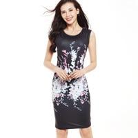 ローブトップファッション膝ドレス2017新しい女性の服ヴィンテージ印刷パッケージヒップドレスノースリーブ鉛筆の背の高いウエストライン