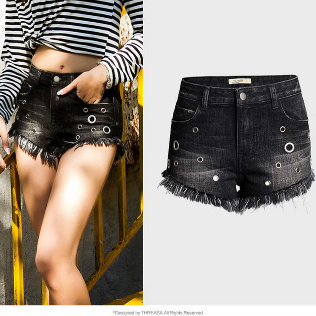 bbc7bfc62e Summer Fashion Gold Plated Eyelet Jeans Shorts Women Cotton Denim High Waist  Black Tassel Ripped Shorts Mujer Wide Leg Pants
