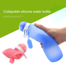 YIBO 1Pcs Sports Water Bottle Creative Food Grade Silicone Foldable Telescopic Outdoor Travel Portable