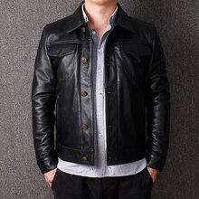 Короткая кожаная куртка, кожаная куртка, Мужская куртка с головой, куртка из бычьей кожи