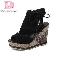 Doratasia New good quality brand Genuine Leather Solid Zip Wedges High Heels Platform Shoes Woman Casual Summer Sandals
