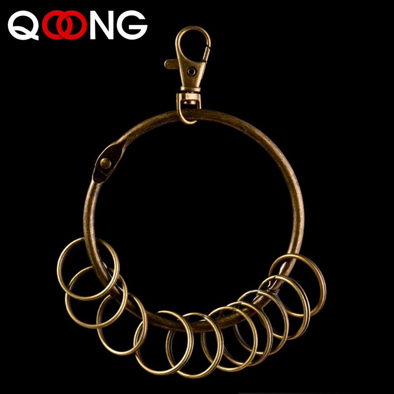 QOONG Fashion Super Big Keychain With 10 Rings Retro Key Chain For Men Women Metal Wallet Pant Keyring Unisex HipHop Jewelry H20 in Key Chains from Jewelry Accessories