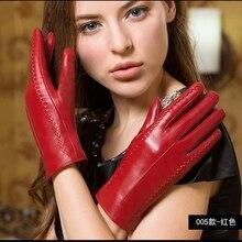 2016 Autumn And Winter Genuine Sheepskin woman Skin Glove Keep Warm Add wool Thickening Short Thin Touch screen gloves