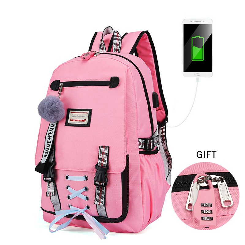 Backpack Travel Mochilas Ribbons Book Letter School-Bag Usb-Charging Female Large-Capacity