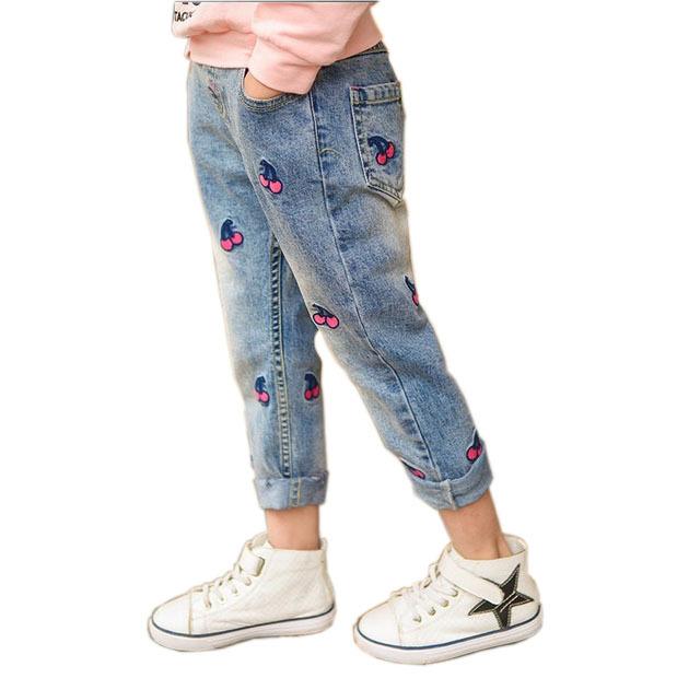 2017 Primavera/Outono Bonito Dos Desenhos Animados Padrão Crianças Jeans Menina das Crianças Macias Denim Jeans para Meninas Elestic Cintura Casuais Calças infantis