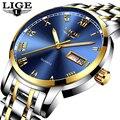 LIGE Uhr Männer Mode Sport Voller Stahl Gold Business Herrenuhren Top marke Luxus Wasserdichte Uhr Relogio Masculino|Quarz-Uhren|Uhren -
