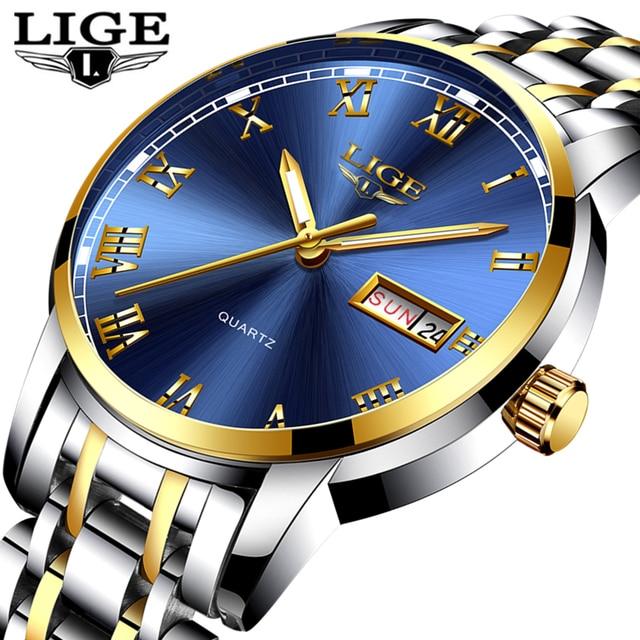 285033ebe64e LIGE Uhr Männer Mode Sport Voller Stahl Gold Business Herrenuhren Top-marke  Luxus Wasserdichte Uhr