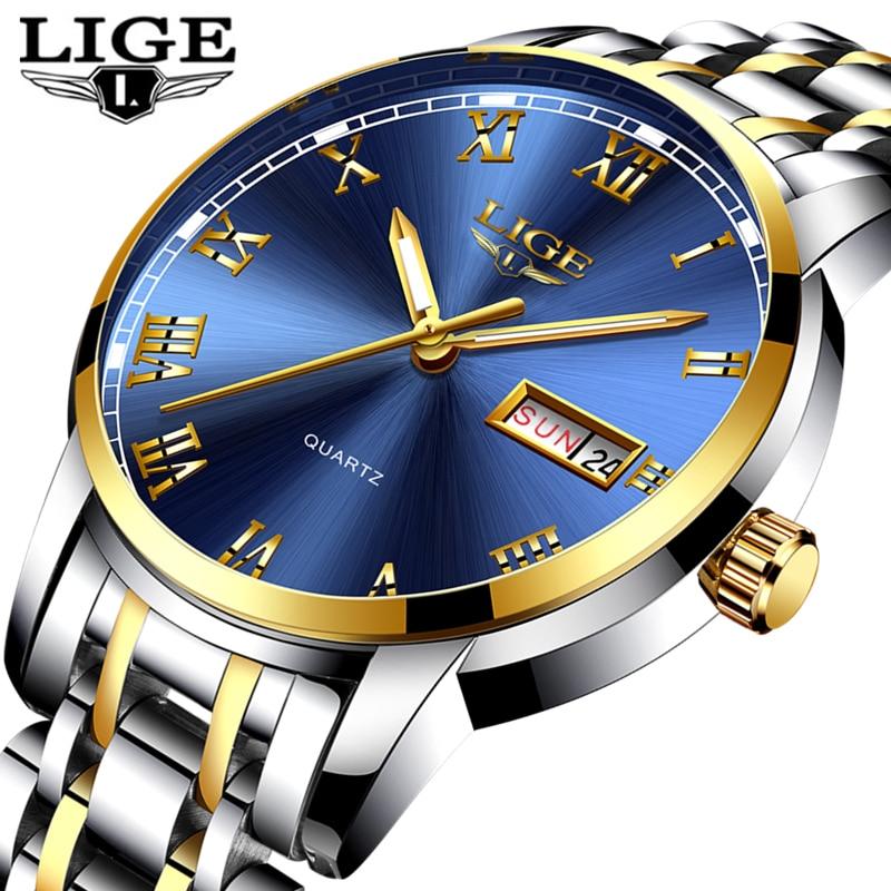 Saatler'ten Kuvars Saatler'de LIGE İzle Erkekler Moda Spor Kuvars Tam Çelik Altın İş Mens Saatler Üst Marka Lüks Su Geçirmez Izle Relogio Masculino
